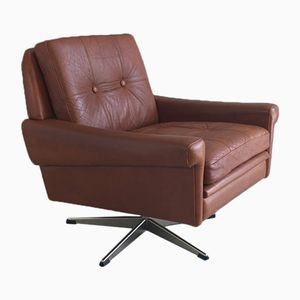 Mid-Century Danish Brown Leather Swivel Armchair by Skippers Møbler, 1970s