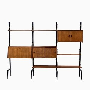 Libreria modulare Mid-Century in metallo neto e teak di Louis van Teeffelen per WeBe, anni '50