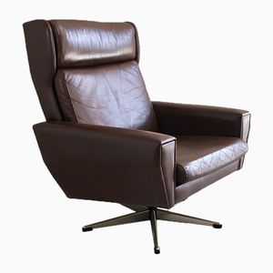 Mid-Century Danish Brown Leather and Chrome Plated Steel Swivel Armchair, 1970s