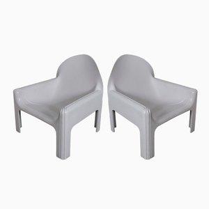 Weiße Modell 4794 Sessel von Gae Aulenti für Kartell, 1974, 2er Set