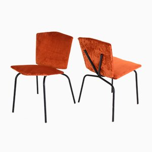 Französische Mid-Century Stühle mit Bezug aus Samt, 2er Set