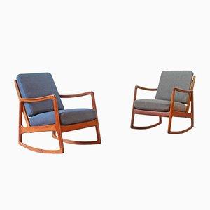 Rocking Chair FD 110 en Teck par Ole Wanscher, 1951