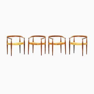 Armlehnstühle aus Eichenholz mit Geflochtenen Sitzen von Nanna Ditzel für Poul Kold Savaerk, 1955, 6er Set