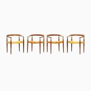 Oak and Woven Cane Armchairs by Nanna Ditzel for Poul Kold Savaerk, 1955, Set of 6