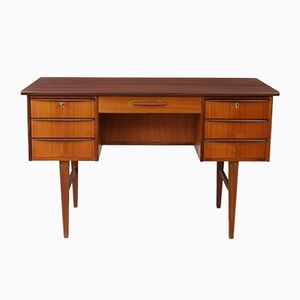 Mid-Century Danish Teak Desk with Curved Handles