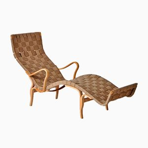Moulded Beech and Webbing Chaise Longue by Bruno Mathsson