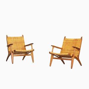 Eichenholz Armlehnstühle mit Geflochtenen Sitzen von Hans J. Wegner für Carl Hansen, 1949