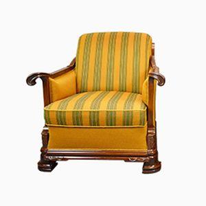 Vintage French Art Deco Mahogany Club Chair