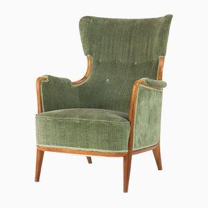 Sessel aus Nussholz & Samt von Axel Larsson für Hjalmar Jackson, 1940er