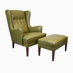 Mid-Century Danish Green Leather Wingback Armchair & Ottoman