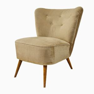 Mid-Century Beige Velvet Club Lounge Chair, 1950s
