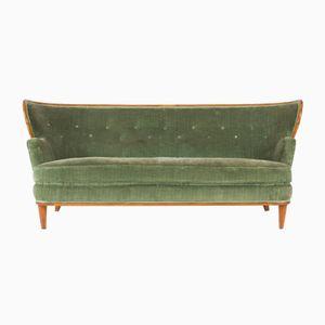 Sofa aus Nussholz und Samt von Axel Larsson für Hjalmar Jackson, 1940er