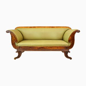 Victorian Regency Mahogany & Beech Scroll Sofa, 1850s