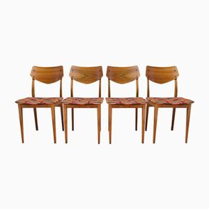 Vintage Walnut Veneer Chairs with Scandinavian Plaid Fabric, 1960s, Set of 4