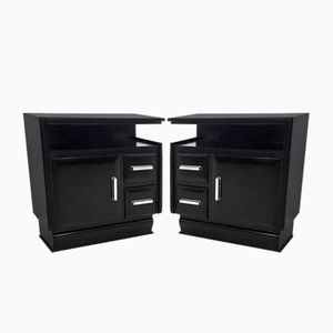 Mid-Century Italian Ebonized Wooden Nightstands, Set of 2
