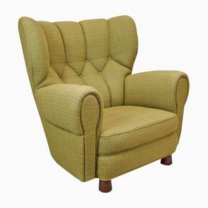 Großer Dänischer Vintage Art Deco Sessel mit Wollbezug