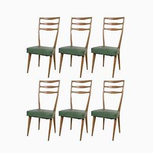 Italian Walnut and Skai Chairs from Cantù, 1950s, Set of 6