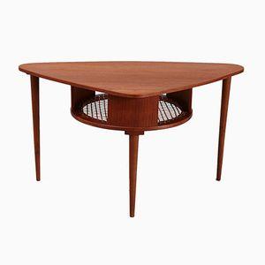 Table Basse Vintage Triangulaire avec Étagère en Teck