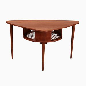 Vintage Triangular Teak Coffee Table with Shelf