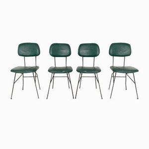 Italian Metal and Skai Chairs, 1950s, Set of 4