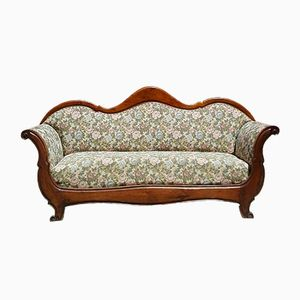 Antique Walnut Sofa with Floral Fabric, 1820s