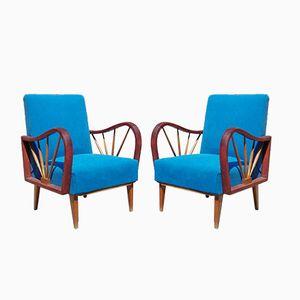Mid-Century Sessel aus Buche, 2er Set
