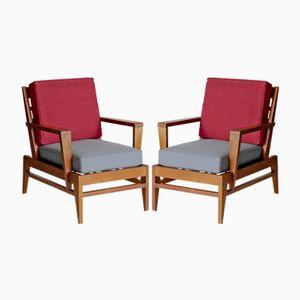Oak Armchairs by Rene Gabriel, 1950s, Set of 2