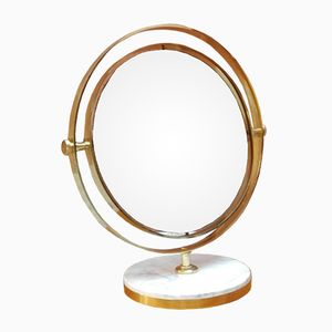 Mid-Century Italian Brass and Marble Table Mirror