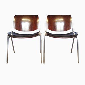 Braune Vintage DSC Axis 106 Holzstühle von Giancarlo Piretti für Castelli, 2er Set