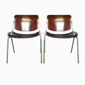 Vintage Wooden Brown DSC Axis 106 Chairs by Giancarlo Piretti for Castelli, Set of 2