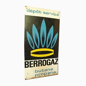French Industrial Berrogaz Gas Depot Advertising Sign