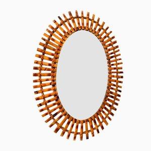 Italian Oval Bamboo Mirror, 1960s