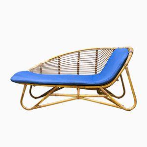 Chaise longue in vimini di Rohe Noordwolde, anni '60