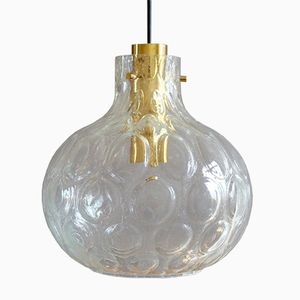 Mid-Century Glass and Brass Pendant Lamp from Glashütte Limburg, 1960s