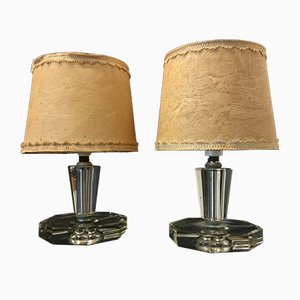 Vintage Italian Glass Table Lamps from Cristal Art, 1950s, Set of 2