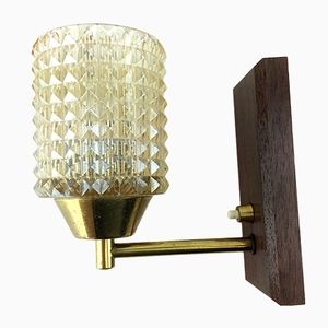 Mid-Century Danish Teak Glass and Brass Wall Light