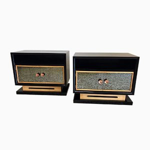 Art Deco Bedside Tables, 1940s, Set of 2