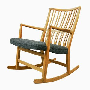 ML-33 Rocking Chair with Floral Carving by Hans J. Wegner for Mikael Laursen, 1940s