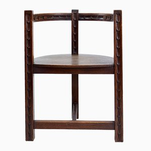 French Art Deco Sculpted Oak Chair, 1930s