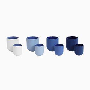 Sum Mugs in Smooth Blue Finish by De Intuïtiefabriek, Set of 4