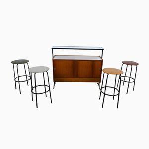 Bancone bar con 4 sgabelli, anni '60