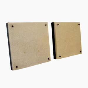 Mid-Century Large Square Flush Mounts, Set of 2
