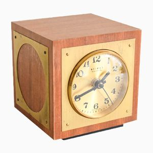 German Brass Cube Clock from Weimar, 1960s