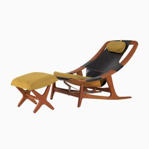 Holmenkollen Chaise Lounge with Ottoman by Arne Tidemand Ruud for AS Inventar, 1960s