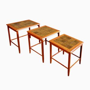 Mid-Century Nest of Teak and Ceramic Tile Coffee Tables
