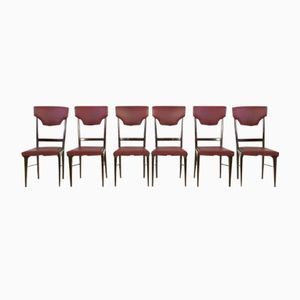 Ebonized Beech and Skai Chairs, 1950s, Set of 6