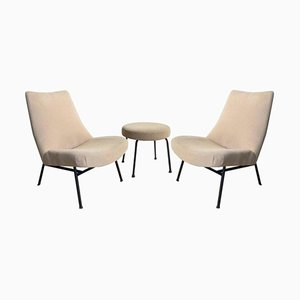 Mid-Century Armchairs with Matching Stool by Pierre Guariche, Set of 3