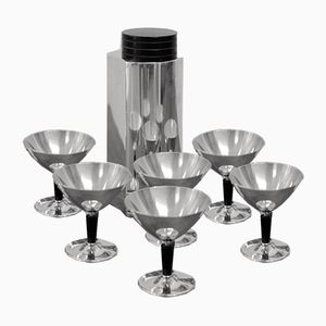 Art Deco Martini Shaker and Glasses by Folke Ahrström for GAB, 1939