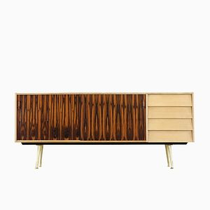 Blonde Credenza with Brass Feet, 1950s