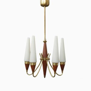 Teak Chandelier by Bent Karlby for Lyfa, 1960s